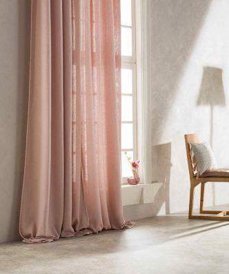 Έτοιμη Κουρτίνα με Τρουκς Punto 436/17 της GOFIS HOME (140x 280) Ροζ