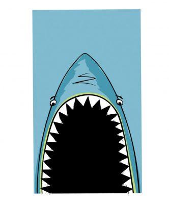 Παιδική Πετσέτα Θαλάσσης βελουτέ SHARK JAWS της NEF-NEF (70x120) BLUE