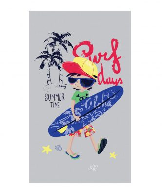 Παιδική Πετσέτα Θαλάσσης βελουτέ SURF BOY της NEF-NEF (70x120) GREY