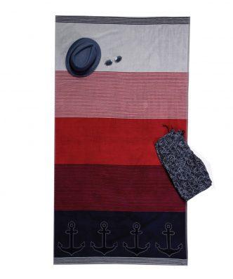 Πετσέτα Θαλάσσης βελουτέ PALMIER της NEF-NEF (100x180) RED