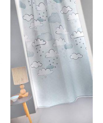 Παιδική Κουρτίνα με τρέσα CLOUDY της Guy Laroche (145x270) LIGHT BLUE