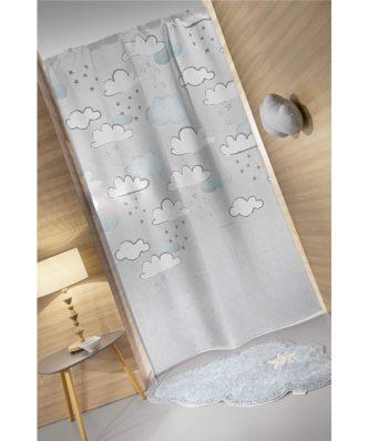 Παιδική Κουρτίνα με τρέσα CLOUDY της Guy Laroche (145x270) SILVER SKY