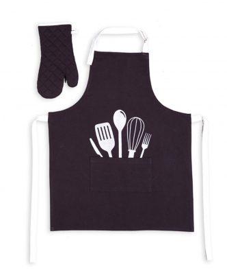 Σετ Ποδιά & Γάντι Κουζίνας COOKING της NEF-NEF (63x79+18x33) BLACK