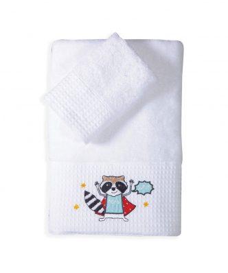 Σετ (2τμχ) Παιδικές Πετσέτες Μπάνιου SUPER ANIMALS της NEF-NEF (30x50+70x140)