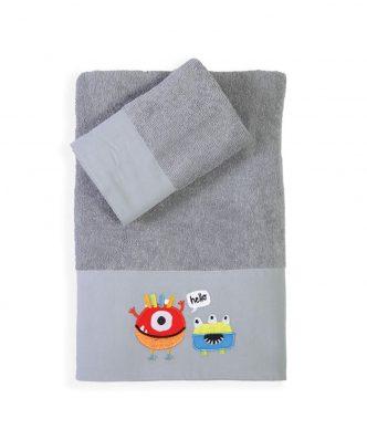 Σετ (2τμχ) Παιδικές Πετσέτες Μπάνιου HELLO MONSTERS της NEF-NEF (30x50+70x140)