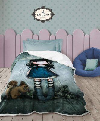 Παιδική Κουβέρτα Fleece Μονή με γουνάκι SANTORO GORJUSS - YOU BROUGHT ME LOVE 5032 της DAS HOME (160x220) - ΓΚΡΙ-ΜΠΛΕ