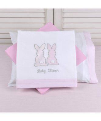 Σετ (3τμχ) Βρεφικά Σεντόνια Λίκνου Pink Bunny Design 357 της Baby Oliver (75x100) ΡΟΖ
