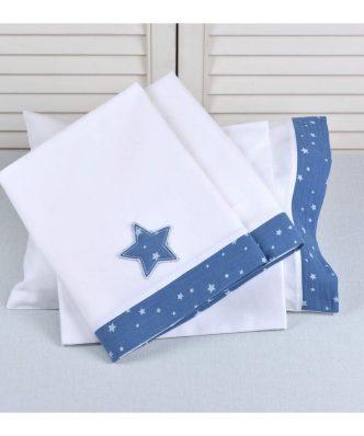 Σετ (3τμχ) Βρεφικά Σεντόνια Κούνιας Muslin Blue Design 374 της Baby Oliver (100x165) ΜΠΛΕ