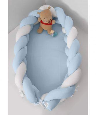 Βρεφική Φωλιά με Αποσπώμενη Πλεξούδα Design 110 της Baby Oliver (200 cm) ΛΕΥΚΟ-ΣΙΕΛ