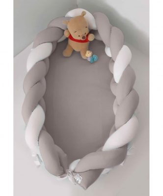 Βρεφική Φωλιά με Αποσπώμενη Πλεξούδα Design 140 της Baby Oliver (200 cm) ΛΕΥΚΟ-ΜΟΚΑ