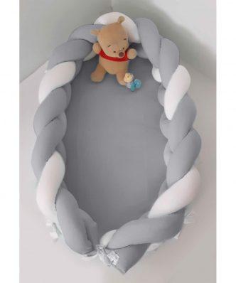 Βρεφική Φωλιά με Αποσπώμενη Πλεξούδα Design 150 της Baby Oliver (200 cm) ΛΕΥΚΟ-ΓΚΡΙ