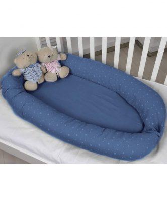 Βρεφική Φωλιά Διπλής Όψης Muslin Blue Design 374 της Baby Oliver (55x95)