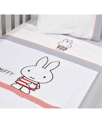 Βρεφική Πικέ Κουβέρτα Κούνιας Design 65 της Miffy (100x140) ΓΚΡΙ