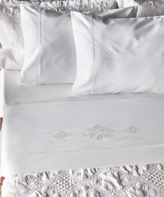 Σετ Σεντόνια Περκάλι Υπέρδιπλα με ISABELLA της ΚΕΝΤΙΑ (240x270) - WHITE
