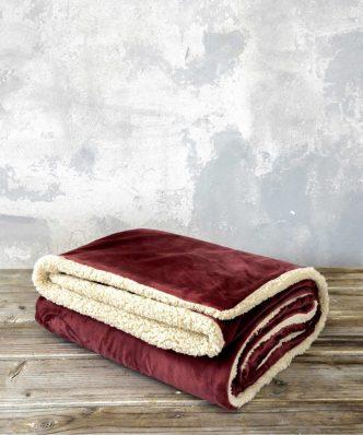 Ριχτάρι/Κουβέρτα Καναπέ NUAN με γουνάκι της NIMA HOME (130x170) - Wine Red / Light Beige