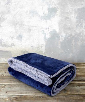Ριχτάρι/Κουβέρτα Καναπέ NUAN με γουνάκι της NIMA HOME (130x170) - Blue / Gray