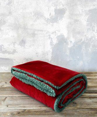 Ριχτάρι/Κουβέρτα Καναπέ NUAN με γουνάκι της NIMA HOME (130x170) - Red / Green