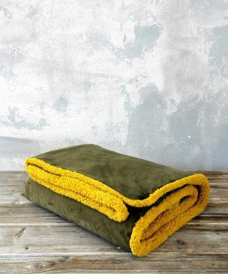 Ριχτάρι/Κουβέρτα Καναπέ NUAN με γουνάκι της NIMA HOME (130x170) - Brown / Mustard Beige