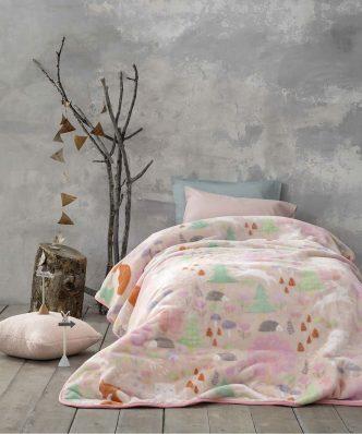 Παιδική Κουβέρτα Βελουτέ Μονή Pretty Forest της NIMA HOME (160x220)